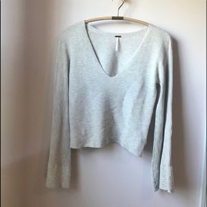 Free People V-Neck Crop Bell Sleeve Sweater Small